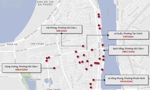 Bản đồ 31 nhà công sản tại Đà Nẵng liên quan đến Vũ Nhôm, do Gachvang thực hiện, trong đó một số địa chỉ liền kề nhau được gộp lại, hiển thị chung bằng một chấm đỏ.
