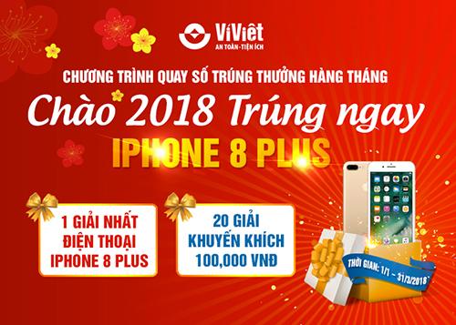Cơ hội trúng iPhone 8 Plus khi giao dịch trên Ví Việt