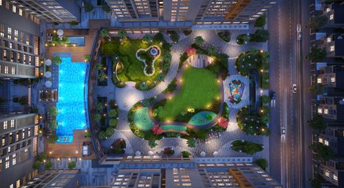 Phối cảnh khu quảng trường công viên rộng 5.000m2.