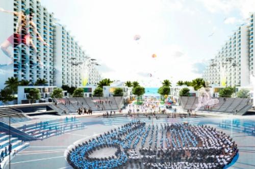 Quảng trường trung tâm dự án The Arena với khán đài thiết kế giật cấp dành để tổ chức sự kiện và kết nối khách nghỉ dưỡng.
