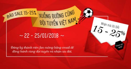 Một banner khuyến mại của nhãn hàng thời trang dịp U23 Việt Nam vào bán kết.