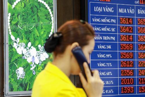 Giá vàng được các doanh nghiệp điều chỉnh tăng. Ảnh: Thành Nguyễn.