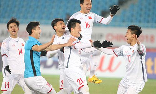 Niềm vui chiến thắng của các cầu thủ U23 Việt Nam. Ảnh: Anh Khoa.