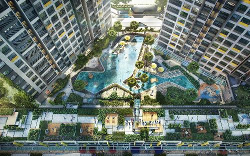 Phối cảnh không gian xanh chiếm 68% tổng diện tích dự án Masteri An Phú, cùng tiện ích chuẩn 5 sao.