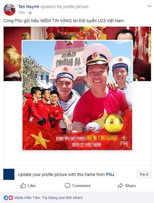 Ông Huỳnh Văn Tẩn - Giám đốc Quan hệ Đối ngoại PNJ thay đổi hình đại diện ủng hộ tuyển U23 Việt Nam (Ảnh chụp màn hình).