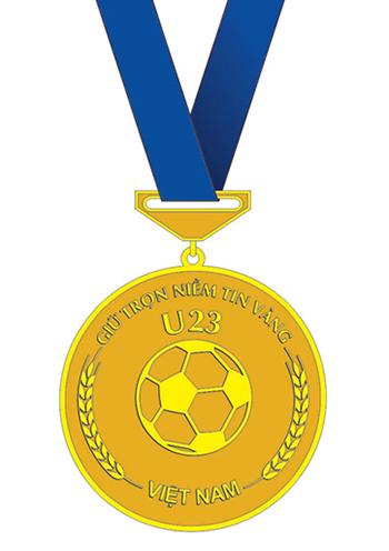 Huy chương Niềm tin vàng do PNJ chế tác dành tặng đội tuyển U23 Việt Nam. Ảnh: PNJ.