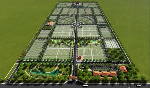 Phối cảnh dự án Hoa Viên Bình An với năm phân khu: Trường Thọ, Khang Ninh, Phú Quý, Hiếu Đức, Thiện Chung.