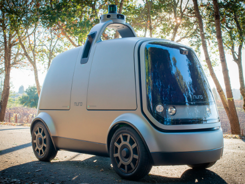 R1 có kết cấu chung của xe tự lái, gồm thân xe, bộ phận cảm biến và radar trên mui.