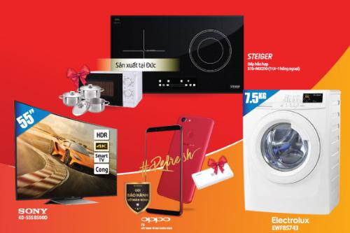 Các sản phẩm như TV, máy giặt, điện thoại mang lại tiện ích cho nhiều gia đình.