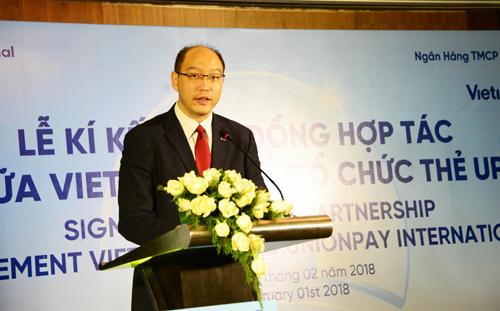 Ông Yang Wenhui - Tổng giám đốc UnionPay International Đông Nam Á phát biểu trong buổi sự kiện.