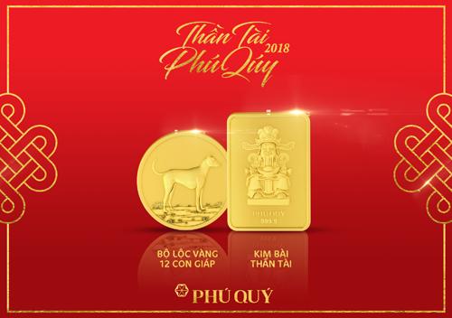 Bộ lộc vàng 12 con giáp và kim bài Thần Tài là sản phẩm nổi bật trong bộ sưu tập.