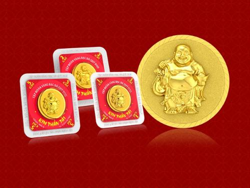 Đồng vàng in hình thần tài.