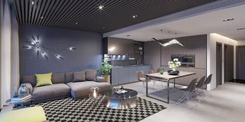 Chất liệu gỗ và da được kết hợp hài hoà tạo nên vẻ sang trọng cho mỗi căn hộ. Những chi tiết nội thất kim loại góp phần làm bật lên cá tính của chủ nhân. Bên cạnh đó là những mảng màu vàng, xanh lá tạo điểm nhấn cho không gian thêm tươi mới.