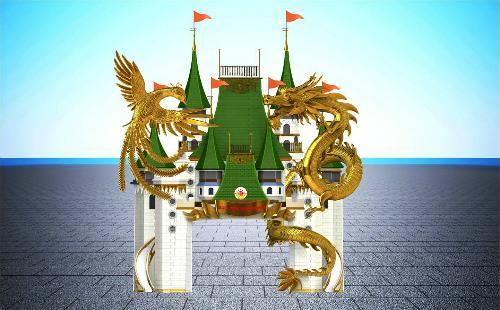 Công trình Thiên Long Phượng Hoàng Môn tráng lệ, kết hợp hài hòa văn hóa Đông  Tây, tượng trưng cho sự cao quý, uy nghi, quyền lực.