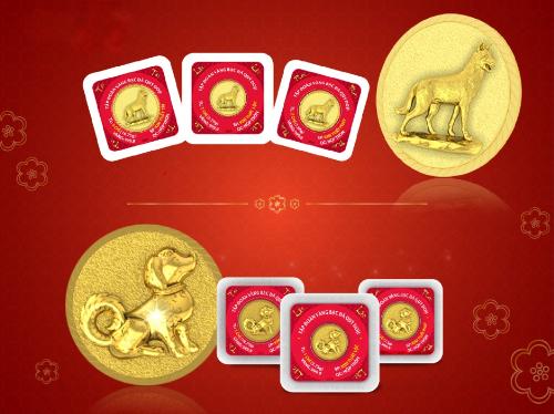 Vàng mang linh vật năm Mậu Tuất được ưa chuộng dịp Tết.