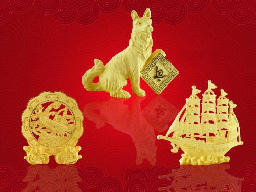 DOJI bán đồng vàng in hình linh vật Tuất ngày Thần Tài