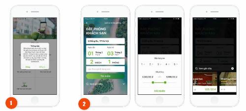 Người dùng có thể đặt phòng khách sạn nhanh chóng qua vài thao tác trên ứng dụng.