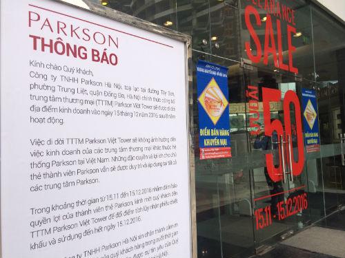 Trung tâm thương mại cuối cùng của Parkson tại Hà Nội đã đóng cửa vào cuối năm 2016. Ảnh:
