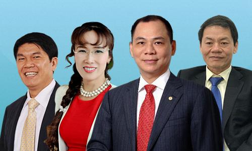 Click vào ảnh để xem thêm chân dung 4 tỷ phú USD Việt Nam. Đồ họa: Tiến Thành.