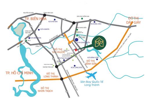 Vị trí khu đô thị kiểu mẫu Biên Hòa Golden Town, liền kề khu công nghiệp Giang Điền.