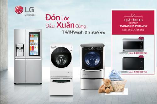 Khách hàng sẽ nhận một chiếc lò vi sóng cao cấp khi mua tủ lạnh LG Instaview Door-in-Door hoặc máy giặt lồng đôi cao cấp LG Twin Wash.