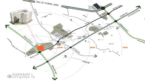 Dự ántiếp giáp những tuyến giao thông huyết mạch như đường Lê Văn Lương, Đại lộ Thăng Long, Nguyễn Trãi.