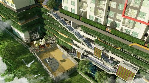Mảng xanh bao phủ khắp nơi trong dự án.