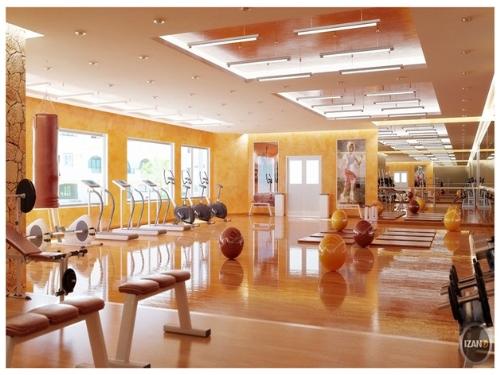 Phối cảnh phòng gym hiện đại tại Samsora Riverside.