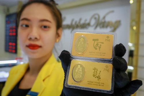 Giá vàng trong nước tăng nhẹ sáng nay. Ảnh: Thành Nguyễn.