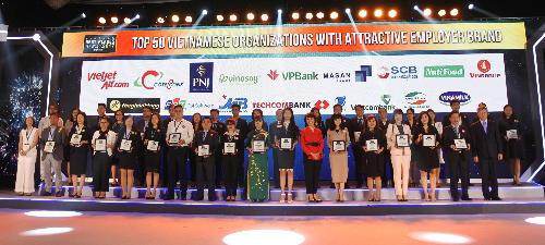 Ông Vũ Đức Hưng (hàng đầu tiên, thứ 8 từ trái qua)  PGĐ Khối Vận hành kiêm GĐ Trung tâm Quản trị nguồn nhân lực đại diện SCB nhận danh hiệu tại lễ trao giải.
