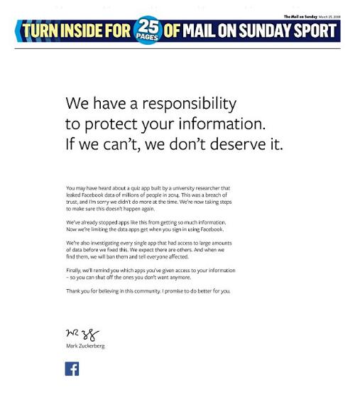 Nguyên trang xin lỗi mà Facebook đã mua quảng cáo trên tờ The Mail on Sunday hôm 25/3.