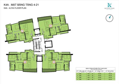 Phối cảnh mặt bằng căn hộ ba phòng ngủ tại Kenton Node, mỗi tầng chỉ có bốn căn hộ.