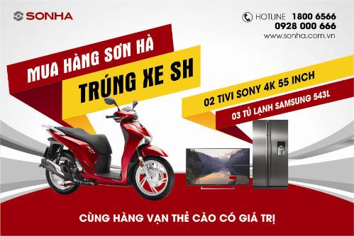 Khách hàng mua sản phẩm tại Sơn Hà, có cơ hội trúng xe SH.