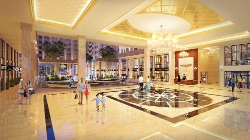 Sảnh đón Emerald Riverview Hall sang trọng thuộc hệ thống hàng chục tiện ích cao cấp của dự án.
