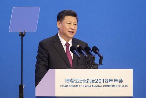 Chủ tịch Trung Quốc - Tập Cận Bình tại diễn đàn sáng nay. Ảnh: Bloomberg