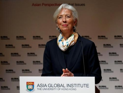 BàLagarde tại một sự kiện ở Hong Kong (Trung Quốc) hôm qua. Ảnh: Reuters