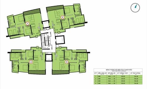 Mặt bằng tầng điển hình gồm 4 căn hộ ba phòng ngủ, diện tích tối đa 145m2.