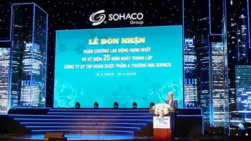 Ông Nguyễn Tiến Chỉnh, Chủ tịch HĐQT Công ty Cổ phần Tập đoàn Dược phẩm và Thương mại Sohaco phát biểu tại sự kiện.
