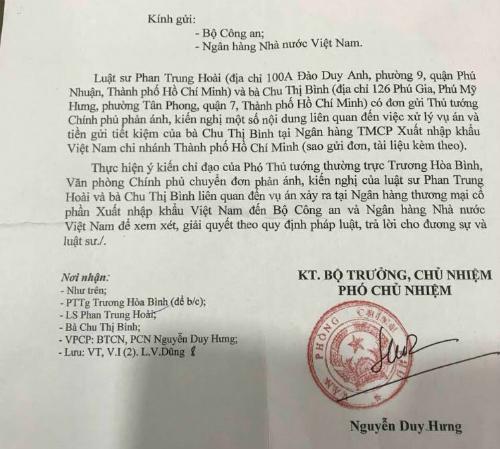 Công văn của Văn phòng Chính phủ phản hồi kiến nghị của bà Bình và luật sư.