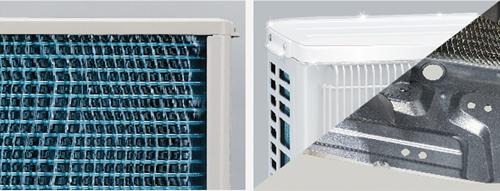 Lớp phủ đặc biệt Blue fin trên hệ thống tản nhiệt và lớp sơn gỉ kết hợp kết cấu mạ kẽm của vỏ dàn nóng