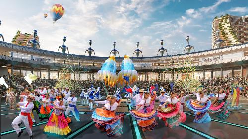 Khán đài The Arena - nơi sẽ diễn ra những hoạt động giải trí sôi động mang đến những cảm xúc mới mẻ cho du khách.
