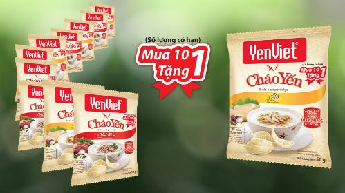 Ưu đãi mua 10 tặng 1 được áp dụng cho gói cháo yến YenViet vị thịt bằm và vị gà.