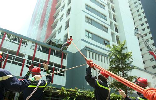 Diễn tập phòng cháy chữa cháy và cứu nạn, cứu hộ tại The One Residence (Hoàng Mai, Hà Nội).