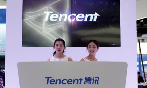 Quầy của Tencent tại Triển lãm Internet Di động Toàn cầu ở Bắc Kinh. Ảnh:Reuters