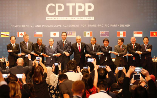 Đại diện các nước tham gia ký kết CPTPP tại Chile ngày 8/3. Ảnh:Reuters