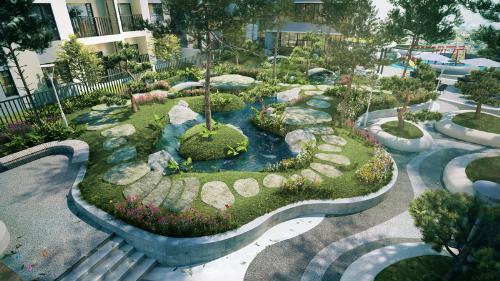 Phối cảnh một góc không gian xanh tại The ZEN Residence.