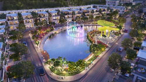 Cận cảnh hồ cảnh quan tọa lạc tại trung tâm dự án Thang Long Home - Hưng Phú. Website: www.hungphu.thanglonghome.vn; Facebook: https://www.facebook.com/hungphu.thanglonghome/