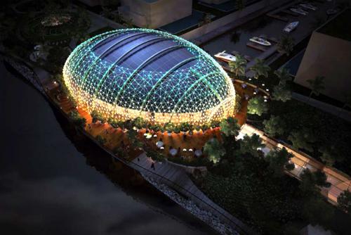 Ảnh phối cảnh khu Club House nội khu dự án với thiết kế tổ chim tương tự nhiều công trình tại Hong Kong, Singapore, Pháp, Trung Quốc