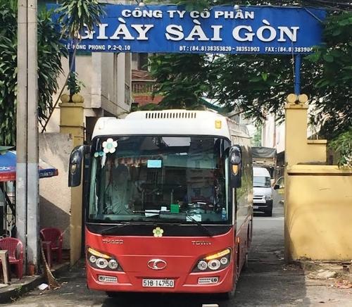 Cổng ra vào trụ sở Giày Sài Gòn trên đườngLê Hồng Phong (quận 10, TP HCM). Ảnh: Báo Giao thông.