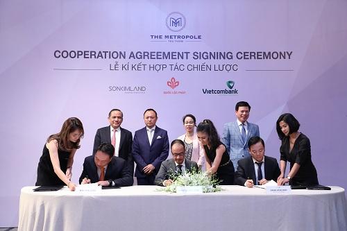 Lễ kýkết hợp tác giữa SonKim Land - Quốc Lộc Phát -Vietcombank vừa diễn ra tại TP HCM.